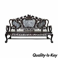 Vintage Oriental Chinese Japanese Dragon Carved Mahogany Marble Back Parlor Sofa