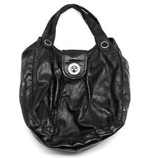 8367b83db194 Marc By Marc Jacobs Black Patent Leather Silver Turn Latch Hobo Shoulder Bag.  •