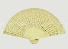 Vintage Chinese Asian Fragrant Wood Carved Hollow Foldable Folding Hand Fan