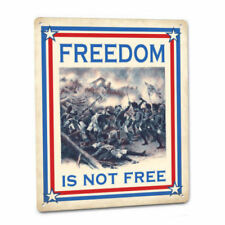 Freedom Is Not Free Metal Sign Patriotic Veterans USA Deplorable American Decor