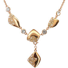 Vintage Retro Pendant Necklace Crystal Clear Copper Tone Costume Jewelry Used