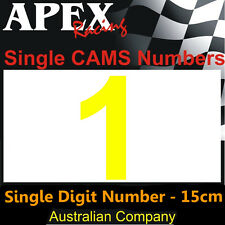 CAMS Window Number 1 Sticker - Single Number 15cm - Race Rally Drift - Yellow