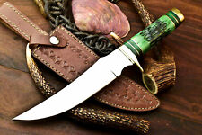 Rare!!! Custom Hand Made D2 Tool Steel Blade Hunting Knife | Engraved Camel Bone