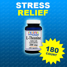 L-Theanine 200mg Potency 180 Caps Stress Relief-Quality-Purity-Potency Made USA