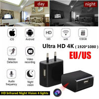 Mini WIFI 4K Hidden Spy Camera Wall Charger Wireless Nanny Night Vision Cam 128G