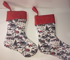 Handmade Quilted Christmas Stocking Fabric Red Cuff w Gold Birds & Loop Set of 2