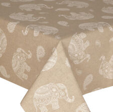 ACRYLIC COATED TABLE CLOTH INDIAN ELEPHANT PAISLEY FLORAL BEIGE WHITE WIPE ABLE