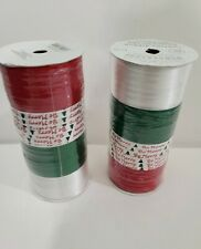 Christmas Rolls Curling Ribbon Lot 2 Red Green White Craft Bows New