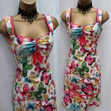 Stunning KAREN MILLEN PINK BLUE YELLOW GREEN BUTTERFLY Summer Party DRESS UK 12