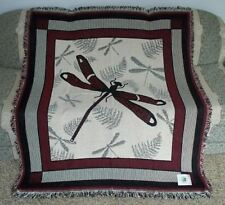 New NWT Dragonfly Afghan Tapestry Throw Blanket Fern Wall Decor Art Garden GIFT