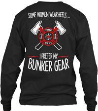 Custom-made Firefighter Bunker Gear - Fire Dept. Gildan Long Sleeve Tee T-Shirt