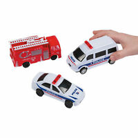 Rescue Pull-Back Vehicles - Toys - 12 Pieces