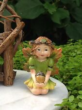 Miniature FAIRY GARDEN ~ HALLOWEEN Fall THANKSGIVING Fairy Girl Figurine w Acorn