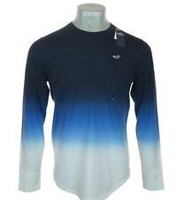 Neu Herren Hollister Langärmelig Ombre Bestickt Grafik T-Shirt M L XL Marineblau