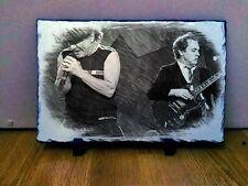 """Brian Johnson Angus Young Acdc Arte Retrato en pizarra 12x8"""" rara coleccionables"""