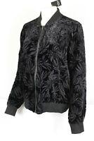 Torrid Women's Burnout Velvet Bomber Full Zip Jacket Black 11056867