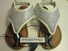 New Health Tex Baby Infant Toddler White Silver Rhinestones Sandals Shoes Sz 4