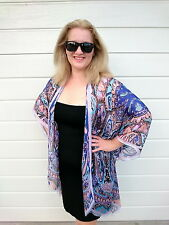 Plus Size Silk Kaftan Kimono Cape Beach Coverup Overlay Paisley 109 Royal Blue