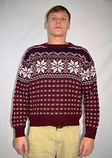 Vintage 80's Men's Red Snowflake Ski Holiday Christmas Sweater by VIP Sz Medium