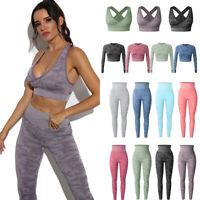 Women's Seamless Yoga Suit Top Pants Leggings Sports Bra Gym Fitness Stretch Set
