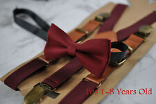 Boy Baby Kids Burgundy Red Cotton Bow Tie + Elastic Leather Suspenders Braces