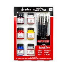 Angelus Brand Leather Paint Basics Starter Kit with Deglazer and Paint Brush Set
