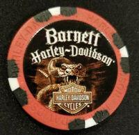 "BARNETT HD~El Paso, TX ~ Harley Davidson ""Wide Print"" (Red/Black) Poker Chip"