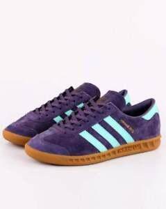 adidas Hamburg Trainers in Purple, Sky & Gum - 3 stripe retro classic shoe suede