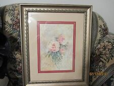PINK ROSE FRAMED PRINT by Rosalind Oesterle Rose Lithograph 24x20 Silver Frame