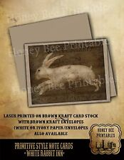 Primitive Note Cards - Brown Kraft w/ env - White Rabbit Inn Easter Spring