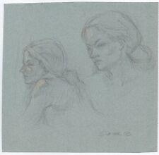 Miriam Slater Original Graphite Pencil Woman's Portrait Life Drawing Sketches