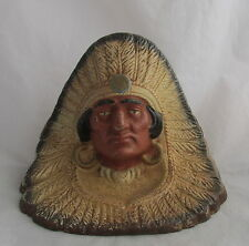 Antique Cast Iron Original Paint Native Ameircan Indian Chief Feathers Door Stop
