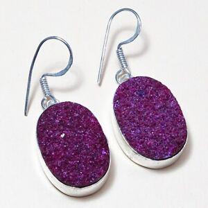 Titanium Purple Flat Druzy Gemstone Handmade Jewelry Earring 7407P  Free Gift