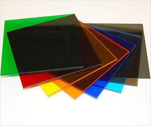 TINTED SAMPLES Acrylic Prespex RANGE of COLOUR TINTS Colours transparent