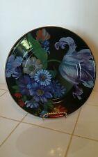 """MacKenzie Childs Black Enamel Floral FM Dinner Plate 10 5/16"""""""
