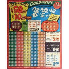 "Vintage ""GOOD & RIPE"" 25 Cent Punch Board Game — UNPUNCHED $50-$10 Jackpot LARGE"