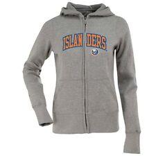 New York Islanders Applique Womens Zip Front Hoody Sweatshirt (Grey) - Medium