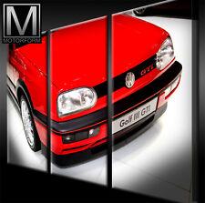 VW GOLF III GTI LEINWAND auf 3 Keilrahmen Bild Auto Poster Lounge Canvas