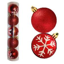 Christmas Decoration 5 Pack 60mm Snowflake & Glitter Baubles - Red