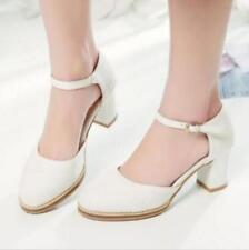 Hot Mary Janes Womens Ankle Strap Pumps Block Heel Court Casual Shoes Plus Size