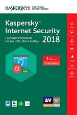 New Kaspersky Internet Security 2018 ( Not 2017 ) 1 Device 1 Year Download Full