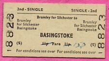 BRB (S) train ticket, BRAMLEY for SILCHESTER > BASINGSTOKE. Ed card single 1973.