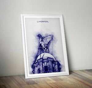 Liverpool Print Liver building bird - in blue pen and Ink style Art Print