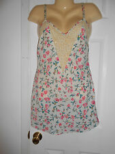 VICTORIA'S SECRET VINTAGE GOLD LABEL FLORAL CHEMISE NIGHTGOWN SZ S EUC
