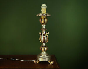 XL 1950s Wooden French Candlestick Table Lamp - Silver Gilt & Acanthus Leaf