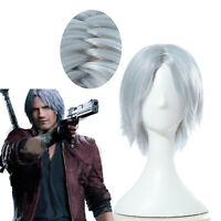 Game Devil May Cry 5 Dante Silver White Wigs Cosplay Short Straight Hair Wig
