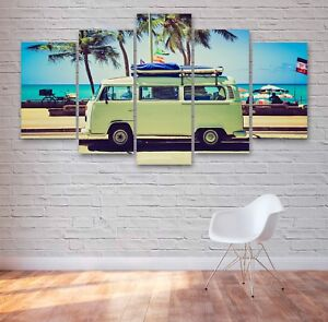 Camper Van VW Classic 5 Panel Canvas, 5 Piece Wall Art, Multi Panel Canvas #047