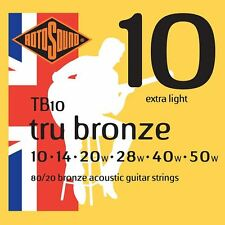 Rotosound TB10 Tru Broze Acoustic Guitare Strings Gauge 10-50 Made in the UK