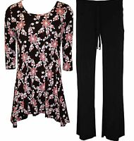 WOMENS LADIES PLUS SIZE FLORAL TOPS TROUSERS FULL SUIT DRESS 16 18 20 22 24 26