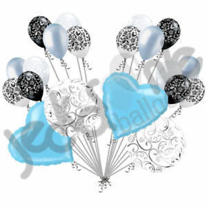 20 pc Light Blue Heart & Swirl Balloon Bouquet Wedding Bridal Shower Anniversary